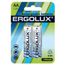 Аккумулятор Ergolux R06-2BL, (AA) 1500 мАч, Ni-Mh (24/384)