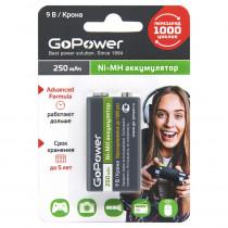 Аккумулятор GoPower 6F22-1BL, 9V, 250 мАч, Ni-Mh (1/25/100)