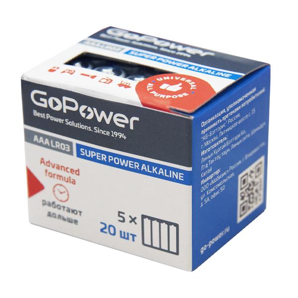 Элем.пит. LR3-20шт. в коробке GoPower (20/640)