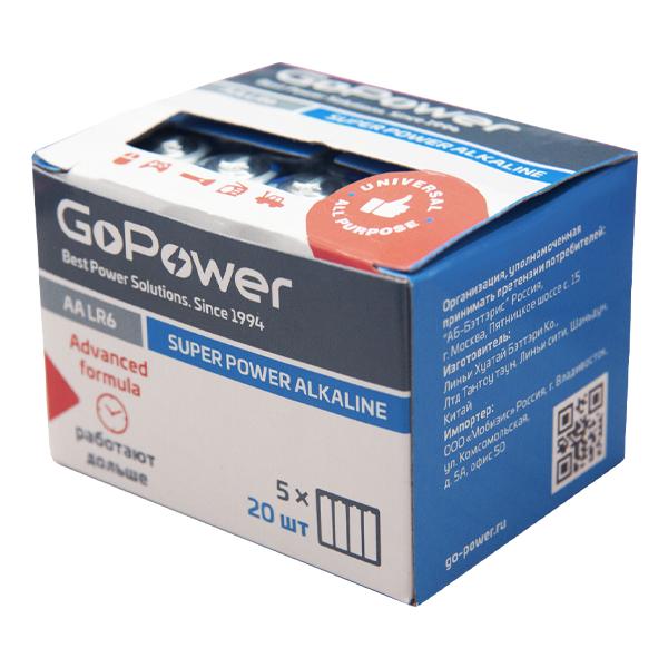 Элем.пит. LR6-20шт. в коробке GoPower (20/640)