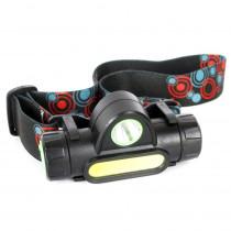 Фонарь налобный аккумуляторный  Ultraflash E1340, 3,7B, XPE + COB LED, 3 Вт, 2 режима, магнит, чёрный