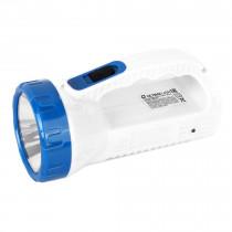 Фонарь ручной аккумуляторный  Ultraflash LED3861, 1Вт LED +12SMD LED, 2 реж., пласт., коробка, (SLA), бел/голубой