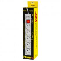 "Perfeo сетевой фильтр 1,8м, 5 розеток, ""POWER+"", серый (PF-PP-5/1,8-G) (30)"