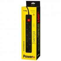"Perfeo сетевой фильтр 3,0м, 5 розеток, ""POWER+"", чёрный (PF-PP-5/3,0-B)"