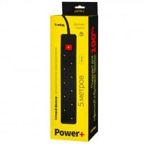 "Perfeo сетевой фильтр 5,0м, 5 розеток, ""POWER+"", чёрный (PF-PP-5/5,0-B)"