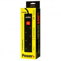 """Perfeo сетевой фильтр 1,8м, 3 розетки, """"POWER+"""", чёрный (PF-PP-3/1,8-B)"""