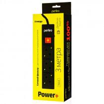 """Perfeo сетевой фильтр 3,0м, 3 розетки, """"POWER+"""", чёрный (PF-PP-3/3,0-B)"""