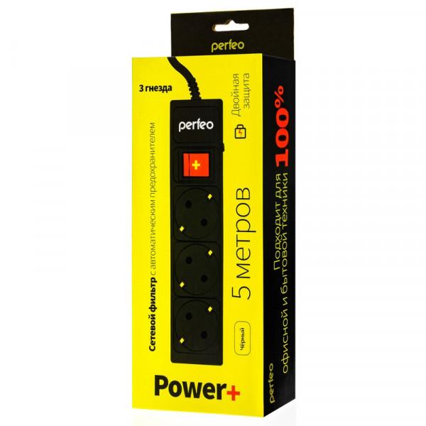 """Perfeo сетевой фильтр 5,0м, 3 розетки, """"POWER+"""", чёрный (PF-PP-3/5,0-B)"""
