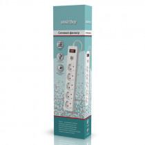 Сетевой фильтр SBSP-18U-W Smartbuy,  USB, 10А, 2 200 Вт, 5 розеток, длина 1,8 м, белый