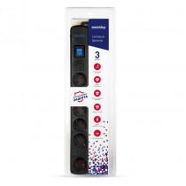Сетевой фильтр SBSP-30K-Pro Smartbuy, 16А, 3500 Вт, 6 гнезд, длина 3,0 м, чёрный