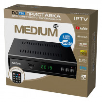 Perfeo MEDIUM цифровой эфирный ТВ-ресивер DVB-T2/C, Wi-Fi, IPTV, HDMI, 2 USB, DolbyDigital, обуч.пул