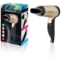 Фен Ergolux ELX-HD01-C64 (складная ручка, 1200Вт, 220-240В), чёрно-золотистый