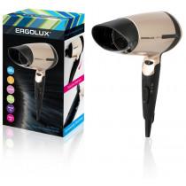 Фен Ergolux ELX-HD02-C64 (складная ручка, 1600Вт, 220-240В), чёрно-золотистый