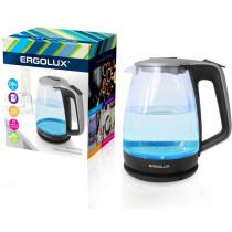 Чайник электрический Ergolux ELX-KG01-C42 (стекл., 1.7л, 160-250В, 1500-2300Вт), серебристо-чёрный