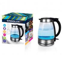 Чайник электрический Ergolux ELX-KG02-C42 (стекл., 1.7л, 160-250В, 1500-2300Вт), серебристо-чёрный
