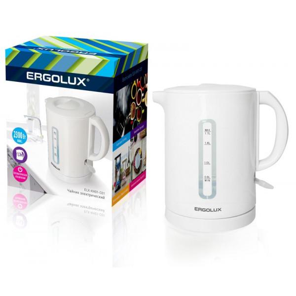 Чайник электрический Ergolux ELX-KH01-C01 (пластик, спираль, 1.7л, 160-250В, 1500-2300Вт), белый
