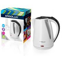 Чайник электрический Ergolux ELX-KP02-C32 (пластик, 1.8л, 160-250В, 1500-2300Вт), бело-чёрный