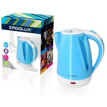 Чайник электрический Ergolux ELX-KP02-C35 (пластик, 1.8л, 160-250В, 1500-2300Вт), бело-голубой