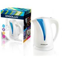 Чайник электрический Ergolux ELX-KP03-C35 (пластик, 2л, 160-250В, 1500-2300Вт), бело-голубой