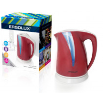 Чайник электрический Ergolux ELX-KP03-C73 (пластик, 2л, 160-250В, 1500-2300Вт), вишнево-св.серый