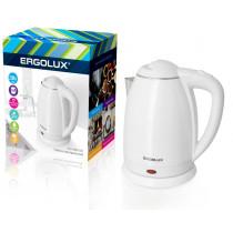Чайник электрический Ergolux ELX-KS02-C01 (нерж.сталь/пластик, 1.8л, 160-250В, 1500-2300Вт), белый