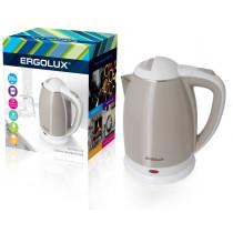 Чайник электрический Ergolux ELX-KS02-C18 (нерж.сталь/пластик, 1.8л, 160-250В, 1500-2300Вт), беж-бел