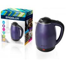 Чайник электрический Ergolux ELX-KS02-C49 (нерж.сталь/пласт, 1.8л, 160-250В, 1500-2300Вт)сине-чёрный