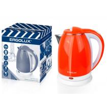 Чайник электрический Ergolux ELX-KS07-С37 (нерж.сталь/пластик, 1.8л, 220-240В, 1500 Вт), бел/оранжевый