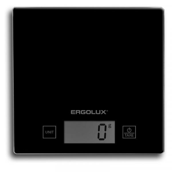 Весы кухонные ERGOLUX ELX-SK01-С02  (до 5 кг, 150*150 мм) чёрные