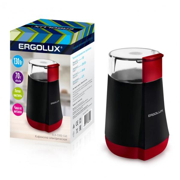 Кофемолка электрическая Ergolux ELX-CG02-C43 (130 Вт, 220-240 В, 70 гр.), чёрно-красная