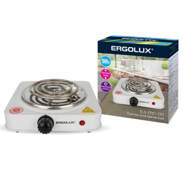 Плитка электрическая Ergolux ELX-EP01-C01 (1 конф., спиральный нагр.эл.1000Вт, 220-240В), белый