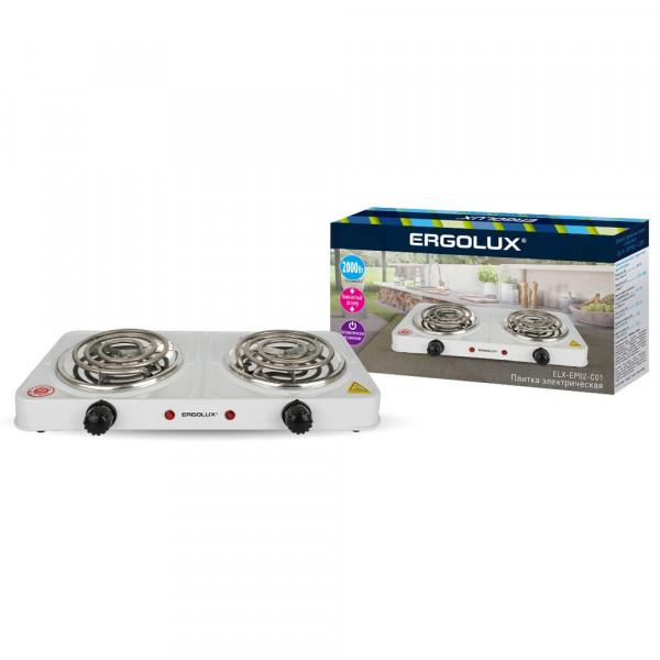 Плитка электрическая Ergolux ELX-EP02-C01 (2 конф., спиральный нагр.эл.2000Вт, 220-240В), белый