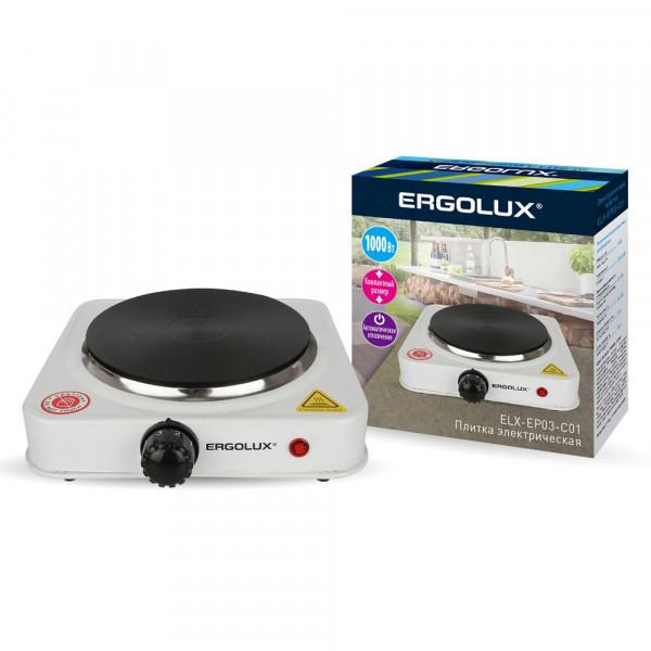 Плитка электрическая Ergolux ELX-EP03-C01 (1 конф., дисковый нагр.эл.1000Вт, 220-240В), белый