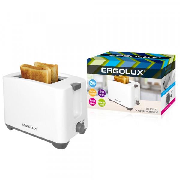 Тостер электрический Ergolux ELX-ET02-C31 (двойной корпус, 220-240 В, 750 Вт), бело-серый