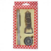 Набор ручка+компас+брелок 3в1 (открывалка, штопор, ножик)