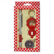 Набор брелок-открывалка фонарик+ручка+компас красный