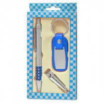 Набор брелок для авто+ручка+кусачки для ногтей синий