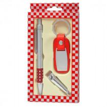 Набор брелок для авто+ручка+кусачки для ногтей красный