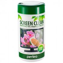 "Perfeo чистящие салфетки ""Screen Clean"" для LCD/TFT экранов и мониторов, в тубе, 100шт."