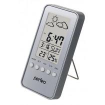 """Часы с метеостанцией Perfeo """"Window"""", с датчиком t, влажность, дата, серебряный (PF-S002A)"""