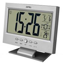 """Часы с будильником Perfeo """"Set"""", с датчиком t, дата, серебряный (PF-S2618)"""