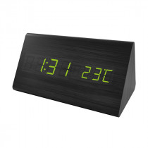 """Часы с будильником Perfeo """"Pyramid"""", LED, с датчиком t, чёрный корпус/зелёная подсветка (PF-S710T)"""