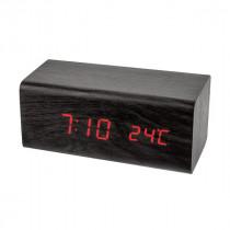 """Часы с будильником Perfeo """"Block"""", LED, с датчиком t, чёрный корпус/красная подсветка (PF-S718T)"""