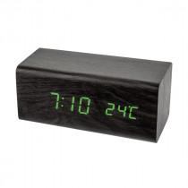 """Часы с будильником Perfeo """"Block"""", LED, с датчиком t, чёрный корпус/зелёная подсветка (PF-S718T)"""