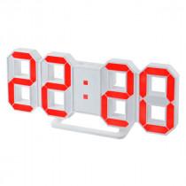 """Часы с будильником Perfeo """"LUMINOUS"""", LED, белый корпус / красная подсветка (PF-663)"""