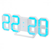 """Часы с будильником Perfeo """"LUMINOUS"""", LED, белый корпус / синяя подсветка (PF-663)"""