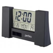 """Часы с будильником Perfeo """"City"""", с датчиком t, дата, чёрный (PF-S2056)"""