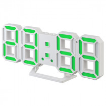 """Часы с будильником Perfeo """"LUMINOUS 2"""", LED, белый корпус / зелёная подсветка (PF-6111)"""