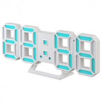 """Часы с будильником Perfeo """"LUMINOUS 2"""", LED, белый корпус / синяя подсветка (PF-6111)"""