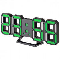 """Часы с будильником Perfeo """"LUMINOUS 2"""", LED, чёрный корпус / зелёная подсветка (PF-6111)"""